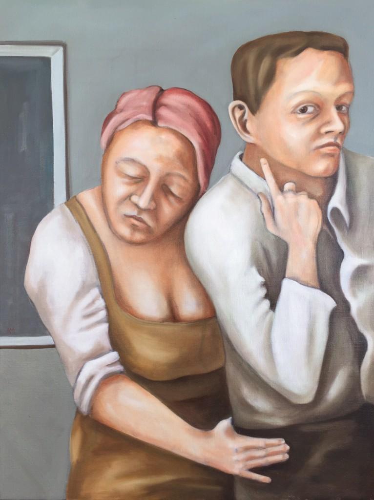 Akram Mutlak: Paar vor grauem Bild, Öl auf Leinwand, 120 x 100 cm, 2014 www.akrammutlak.de